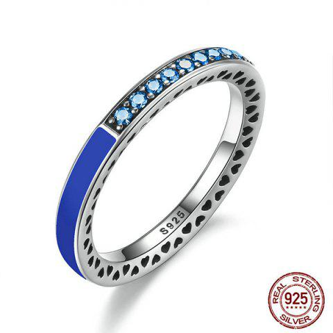 New Sterling Silver Rhinestone Heart Ring - DEEP BLUE 7 Mobile