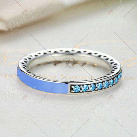 Outfits Sterling Silver Rhinestone Heart Ring - LIGHT BLUE 7 Mobile
