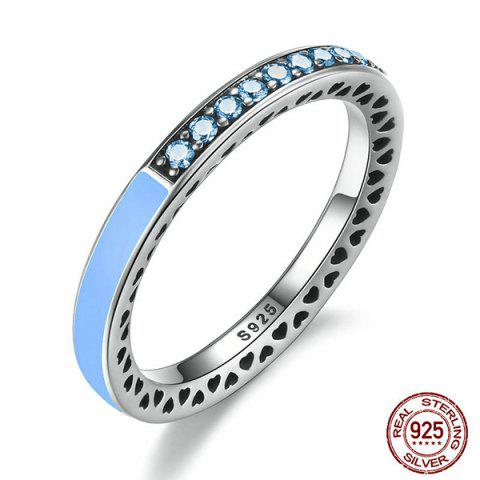 Hot Sterling Silver Rhinestone Heart Ring - 8 LIGHT BLUE Mobile