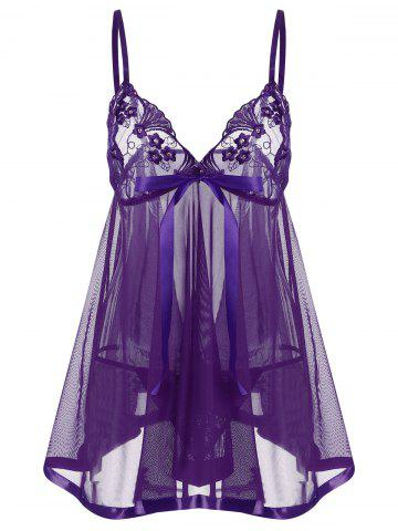 Discount Embroidered Sequin See Thru Slip Babydoll - XL PURPLE Mobile