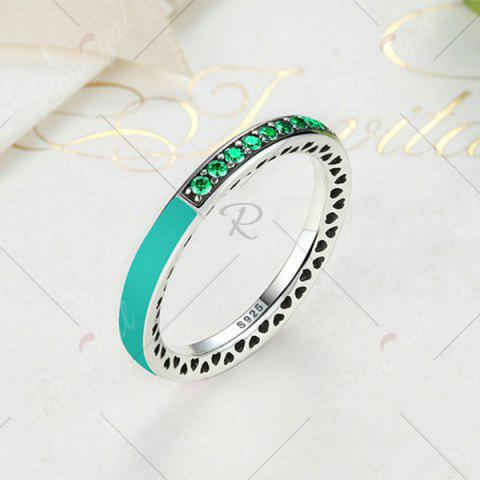 Hot Sterling Silver Rhinestone Heart Ring - GREEN 7 Mobile