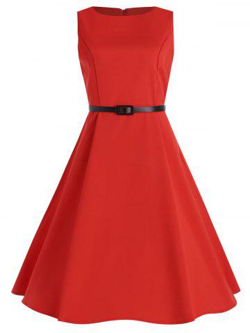 Plus Size Midi Vintage Pin Up Dress with Belt - Red - 4xl