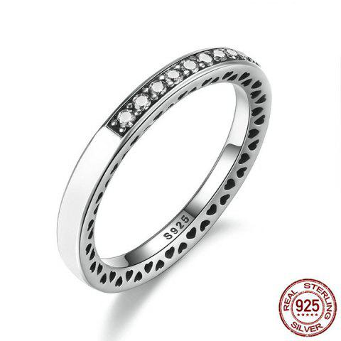 Trendy Sterling Silver Rhinestone Heart Ring - 8 WHITE Mobile