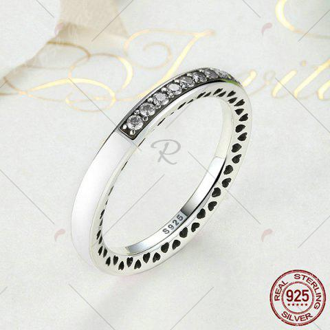 Shop Sterling Silver Rhinestone Heart Ring - 8 WHITE Mobile