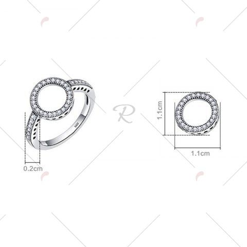 Fashion Hollow Out Heart and Round Rhinestone Ring - 8 SILVER Mobile