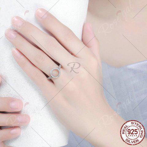 Affordable Hollow Out Heart and Round Rhinestone Ring - 7 SILVER Mobile