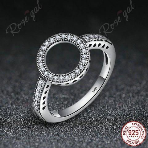 Fancy Hollow Out Heart and Round Rhinestone Ring - 7 SILVER Mobile