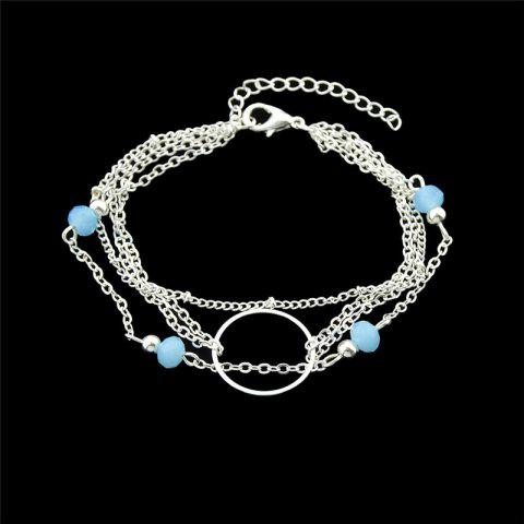 Fashion Layered Circle Beads Chain Bracelet - SILVER  Mobile