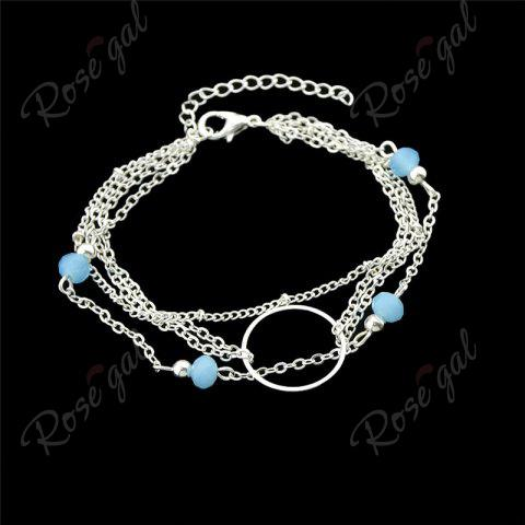 Affordable Layered Circle Beads Chain Bracelet - SILVER  Mobile