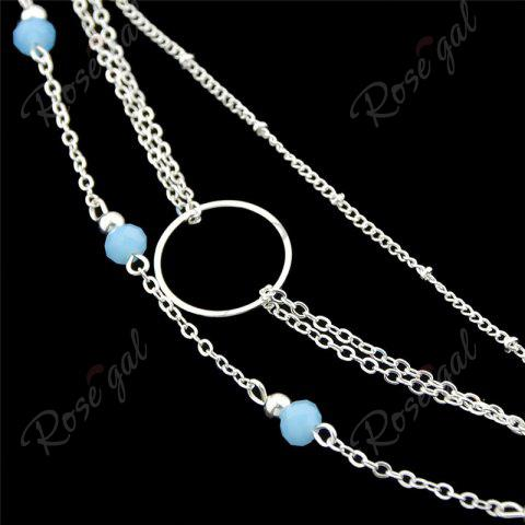 Fancy Layered Circle Beads Chain Bracelet - SILVER  Mobile