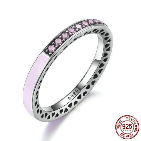 Hot Sterling Silver Rhinestone Heart Ring - PINK 7 Mobile