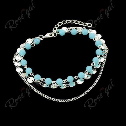 Unique Disc Sequins Layered Chain Beaded Anklet - SILVER  Mobile