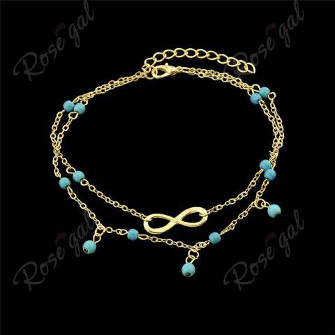 New Faux Turquoise Beads Infinite Charm Anklet - GOLDEN  Mobile