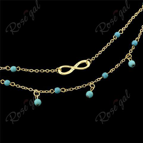 Store Faux Turquoise Beads Infinite Charm Anklet - GOLDEN  Mobile