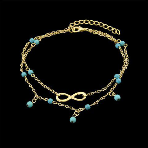 Outfit Faux Turquoise Beads Infinite Charm Anklet GOLDEN