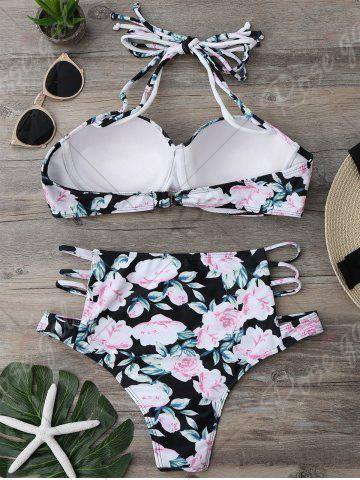 Unique Floral High Waisted Strappy Bikini Set - S FLORAL Mobile