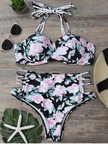 Affordable Floral High Waisted Strappy Bikini Set - S FLORAL Mobile