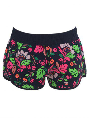 Trendy Printed Dolphin Swim Shorts - M FLORAL Mobile