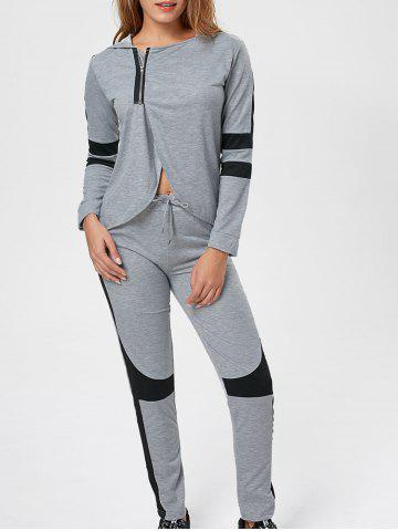 Hooded Two Tone Zip Sweat Suit - Gray - 2xl
