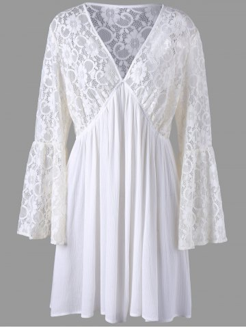 Off White Xl Plus Size Lace Sheer Long Sleeve Skater Dress | RoseGal.com