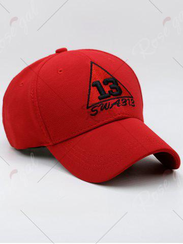 Buy Trangle Numbers Embroidered Baseball Cap - RED  Mobile