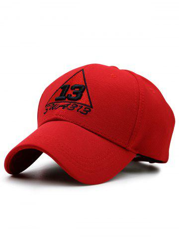 Trangle Numbers Brodé Baseball Cap Rouge