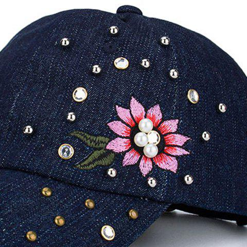 Unique Floral Embroidered Rhinestone Rivet Baseball Hat - BLUE  Mobile