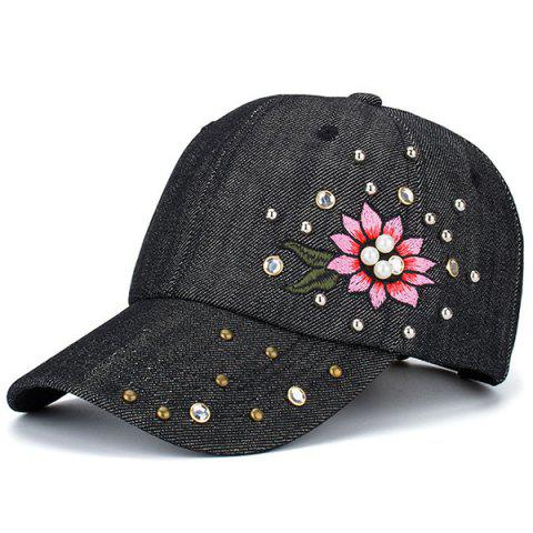Online Floral Embroidered Rhinestone Rivet Baseball Hat BLACK