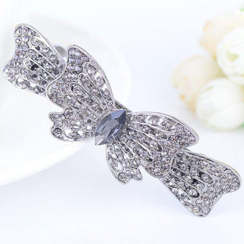 Fancy Rhinestone Inlaid Bowknot Design Barrette - SILVER  Mobile