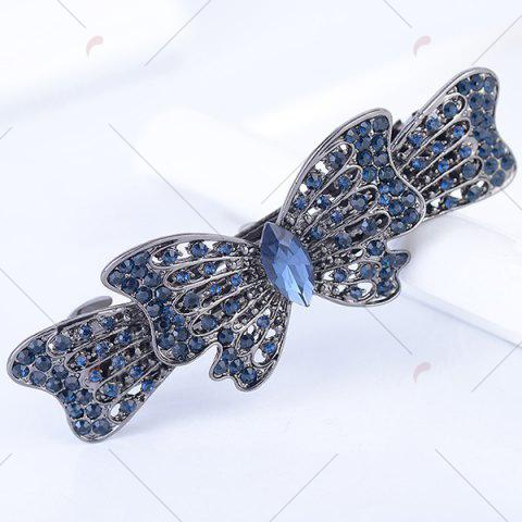 Fancy Rhinestone Inlaid Bowknot Design Barrette - BLUE GRAY  Mobile