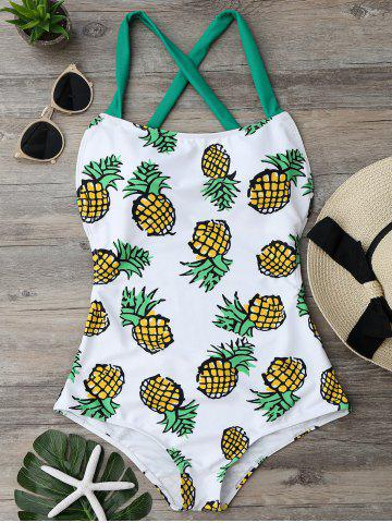 New Cross Back Pineapple One Piece Swimsuit - S COLORMIX Mobile