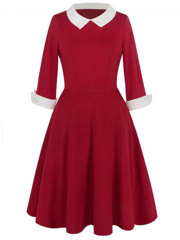 Sale Vintage Two Tone Peter Pan Collar Dress RED S