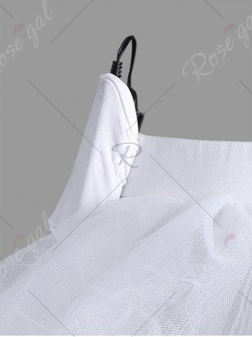 Affordable Mesh Tutu Light Up Cosplay Party Skirt - ONE SIZE WHITE Mobile