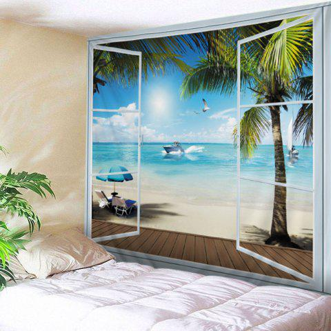 Outfit Belcony Beach Print Tapestry Wall Hanging Art Decoration - W79 INCH * L71 INCH LAKE BLUE Mobile