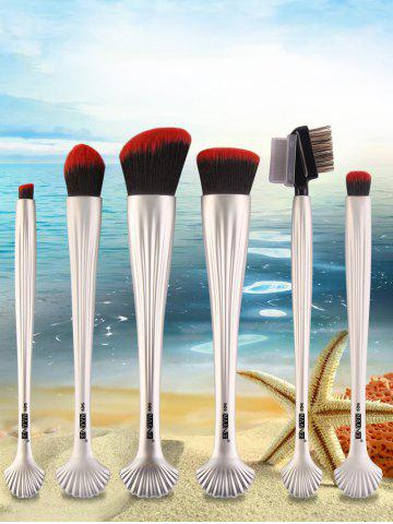 Latest 6Pcs Plated Shell Facial Makeup Brushes Kit - CRYSTAL CREAM  Mobile