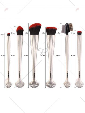 Cheap 6Pcs Plated Shell Facial Makeup Brushes Kit - CRYSTAL CREAM  Mobile