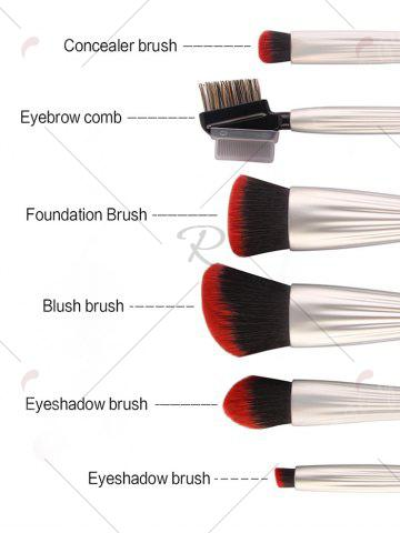 Best 6Pcs Plated Shell Facial Makeup Brushes Kit - CRYSTAL CREAM  Mobile