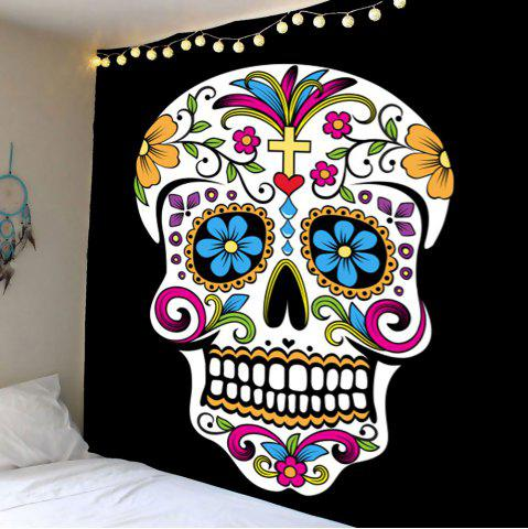 Home Decor Skull Floral Print Wall Hanging Tapestry - Colorful - W79 Inch * L79 Inch