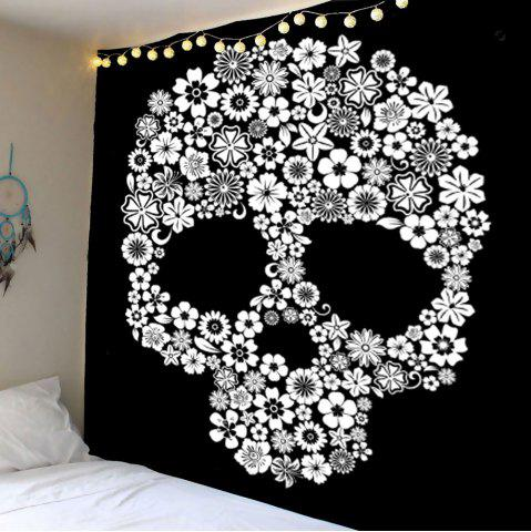 Home Decor Skull Flower Wall Hanging Tapestry - White - W79 Inch * L79 Inch