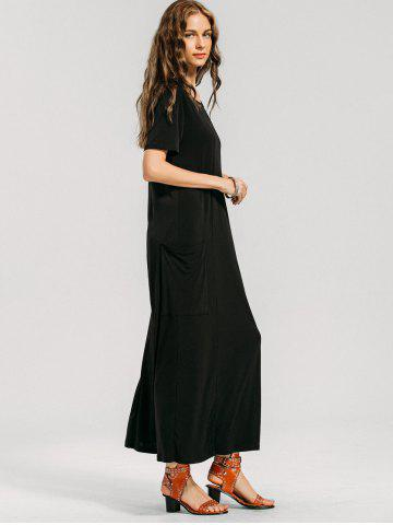 Short Sleeve Formal Pockets Maxi Dress