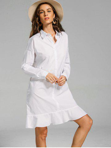 Flounces Button Down Long Shift Shirt Dress