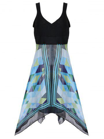 Discount Plus Size Sleeveless Printed Handkerchief Dress
