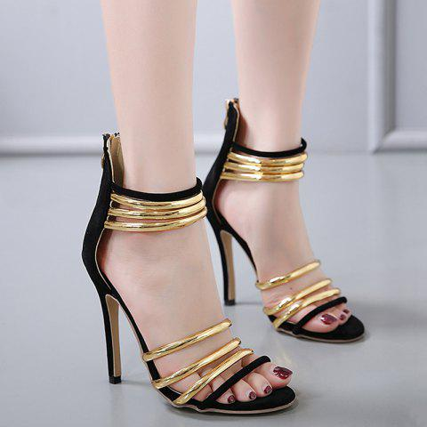Unique High Heel Metallic Strap Gladiator Sandals