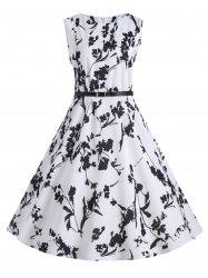 Plus Size Floral Midi Vintage Dress with Belt -