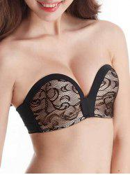 Lace Push Up Bandeau Bra - BLACK
