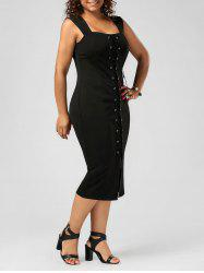 Plus Size Lace Up Midi Bodycon Dress