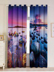 Seaside Sunset 2Pcs Window Treatment Blackout Curtain - Multicolore Largeur53pouces*Longeur96.5pouces