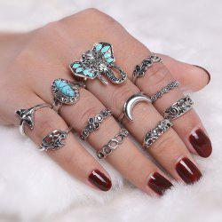 Bohemian Elephant Flower Moon Ring Set