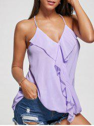 Ruffles Chiffon Wrap Top - PURPLE L