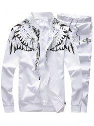 Stand Collar Zip Up Wings Print Jacket and Pants Twinset - WHITE